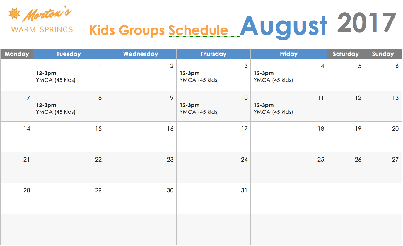Kid's Schedule